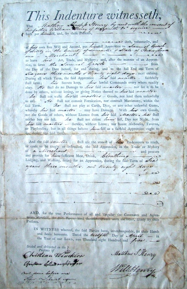 This 1805 apprentice agreement bound the fifteen year-old Mathew S. Henry for six years to a Lititz shopkeeper.